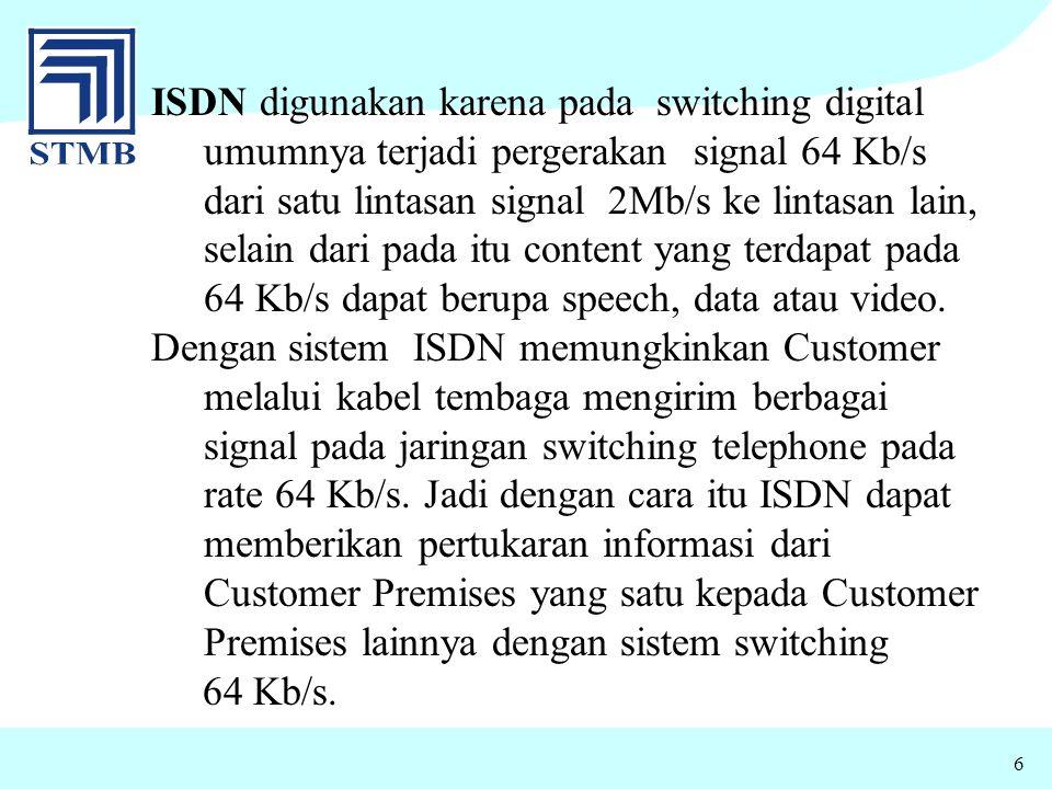 ISDN digunakan karena pada switching digital umumnya terjadi pergerakan signal 64 Kb/s dari satu lintasan signal 2Mb/s ke lintasan lain, selain dari pada itu content yang terdapat pada 64 Kb/s dapat berupa speech, data atau video.