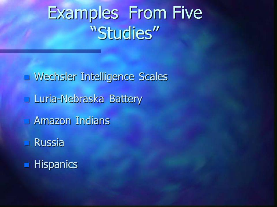 Examples From Five Studies