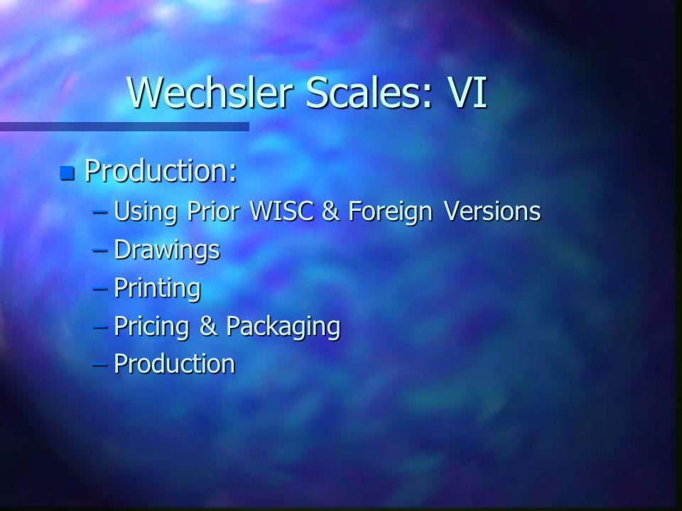 Wechsler Scales: VI Production: Using Prior WISC & Foreign Versions