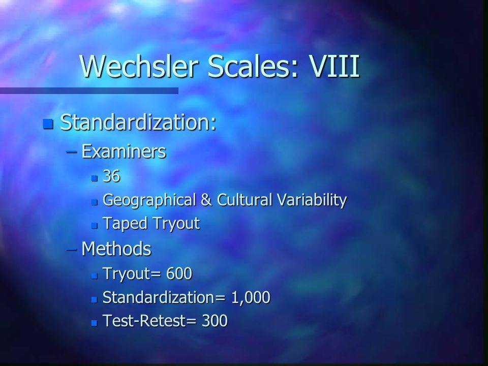 Wechsler Scales: VIII Standardization: Examiners Methods 36