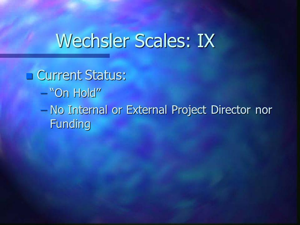 Wechsler Scales: IX Current Status: On Hold