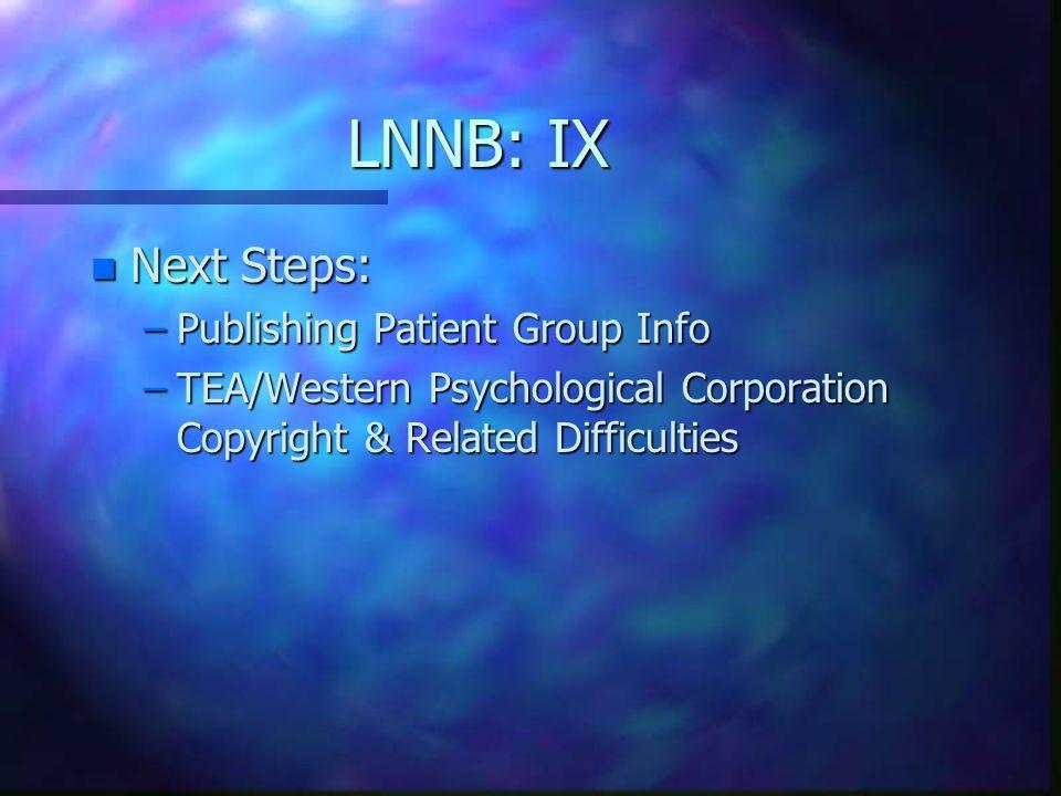 LNNB: IX Next Steps: Publishing Patient Group Info