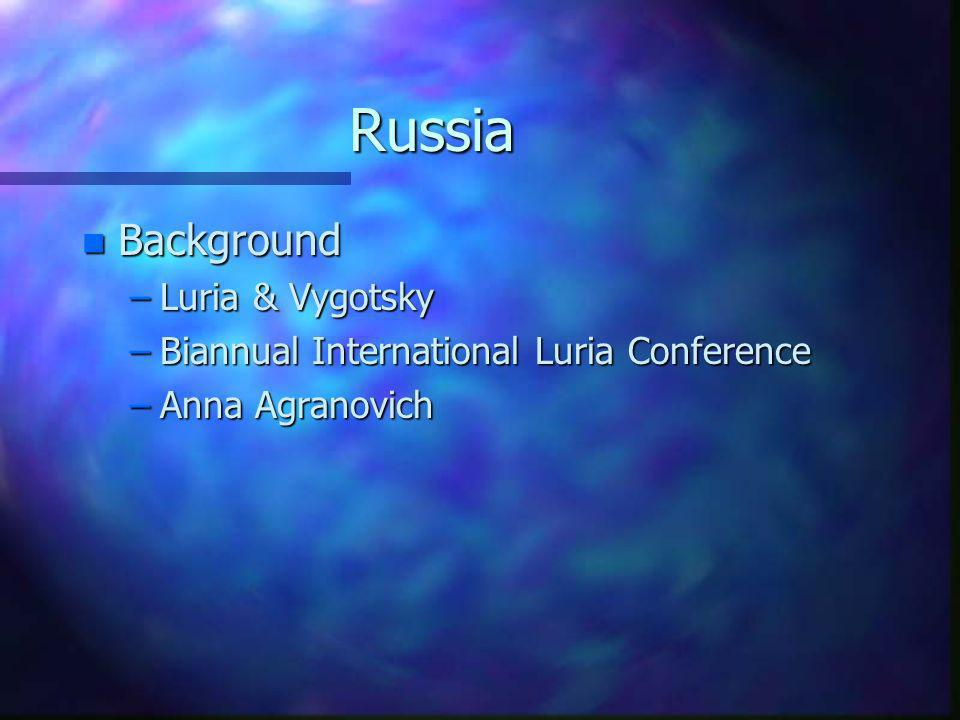 Russia Background Luria & Vygotsky