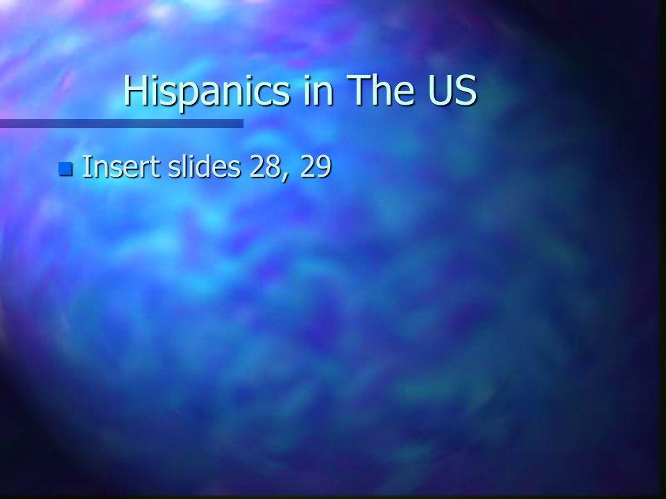 Hispanics in The US Insert slides 28, 29