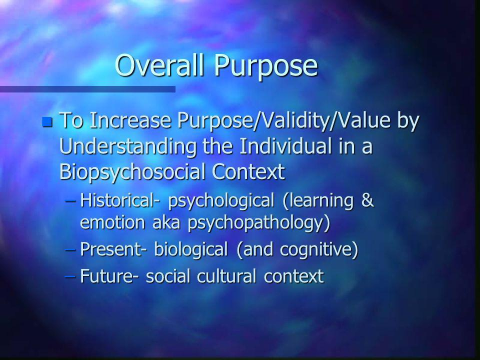 Overall Purpose To Increase Purpose/Validity/Value by Understanding the Individual in a Biopsychosocial Context.
