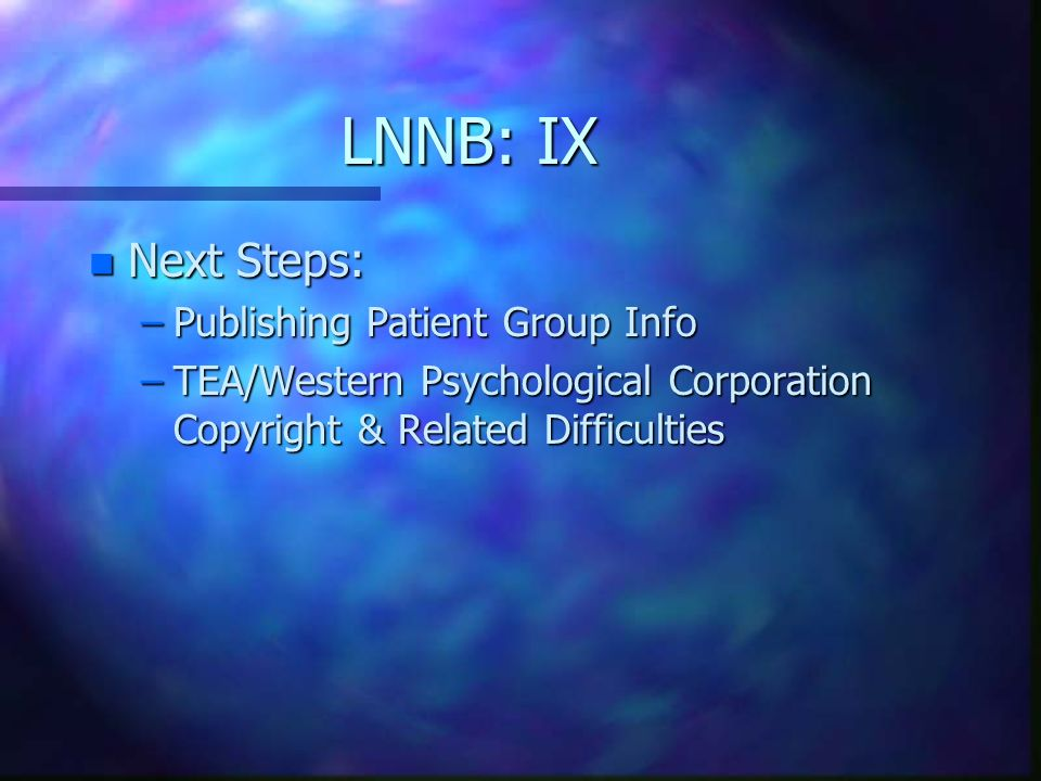 LNNB: IX Next Steps: Publishing Patient Group Info