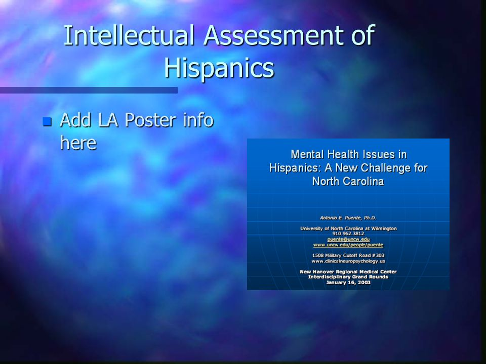 Intellectual Assessment of Hispanics