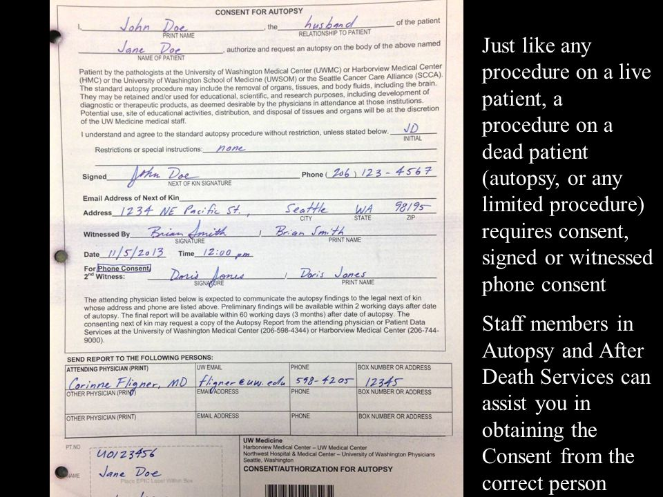 Just like any procedure on a live patient, a procedure on a dead patient (autopsy, or any limited procedure) requires consent, signed or witnessed phone consent