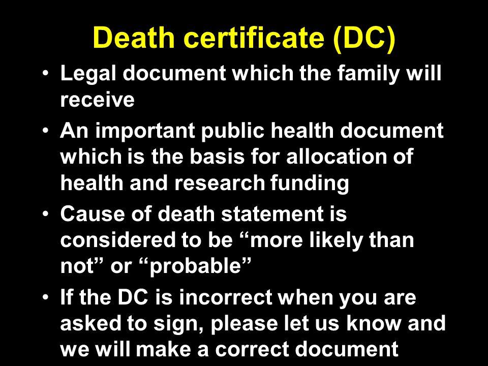Death certificate (DC)