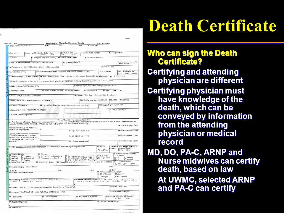 Death Certificate (Insert photo of purple sheet)