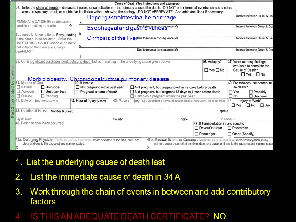 1. List the underlying cause of death last