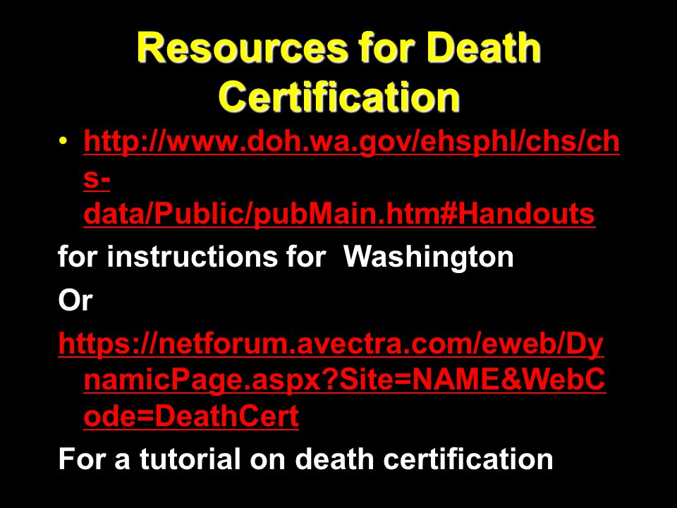 Resources for Death Certification