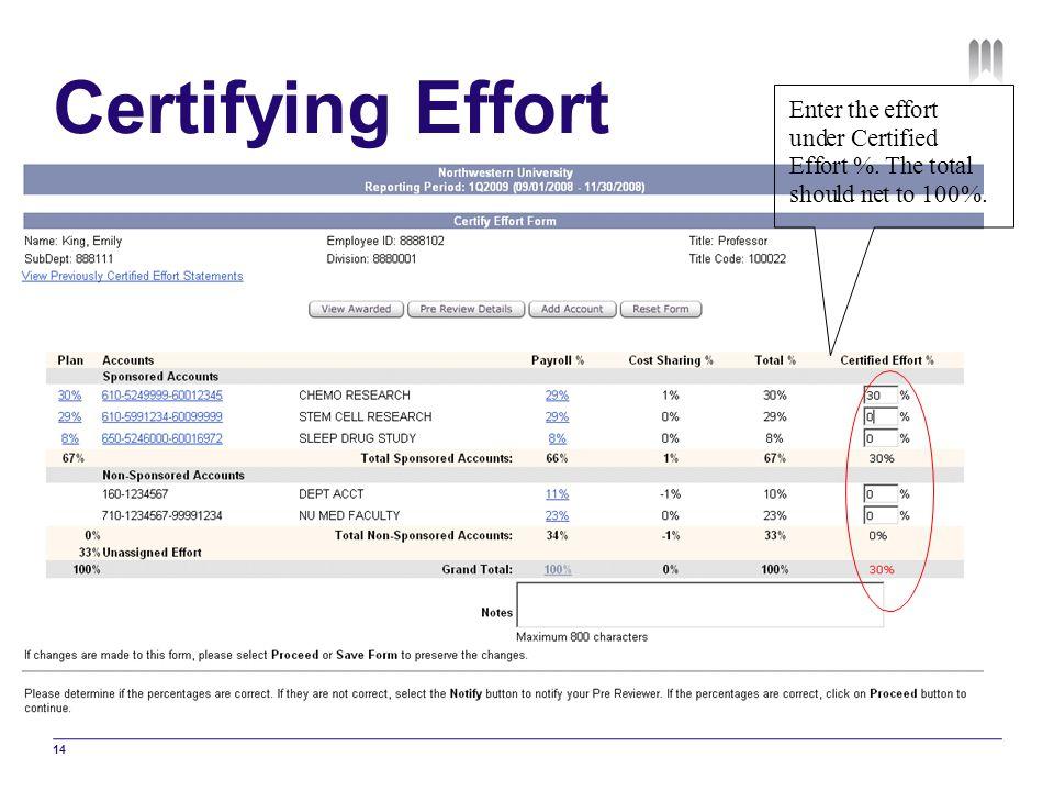 Certifying Effort En t e r he f o und C er ti i d E ff %. T h a l shou