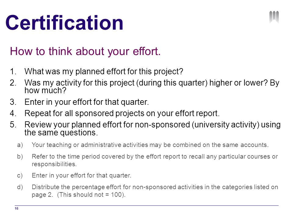 Certification How to think about your effort.
