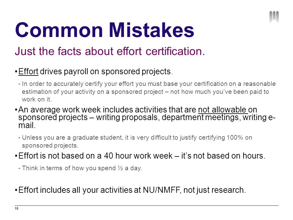 Common Mistakes Just the facts about effort certification.