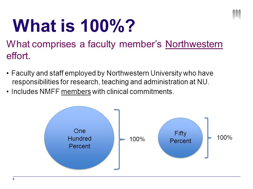 What is 100% What comprises a faculty member's Northwestern effort.
