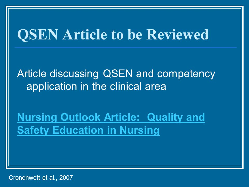 QSEN Article to be Reviewed