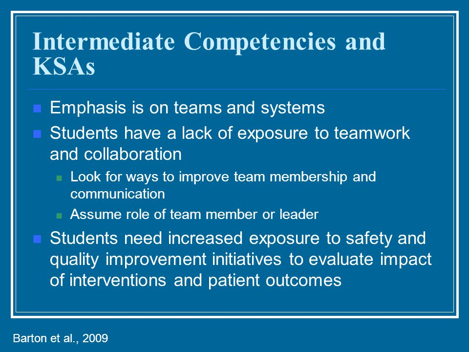 Intermediate Competencies and KSAs