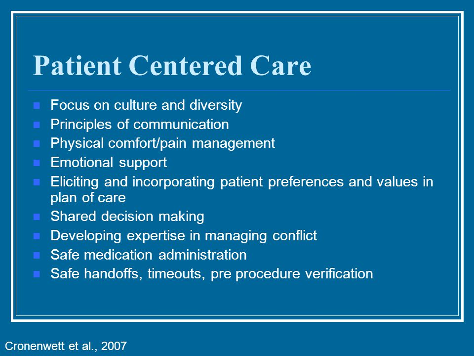 Patient Centered Care Focus on culture and diversity