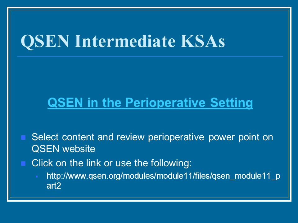 QSEN Intermediate KSAs