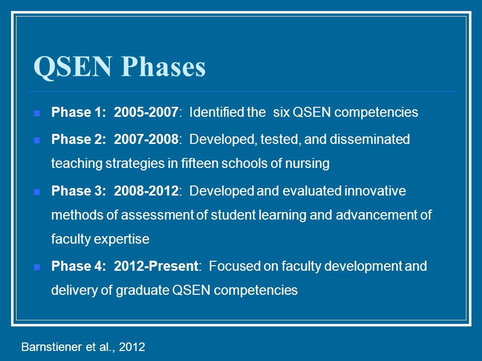QSEN Phases Phase 1: 2005-2007: Identified the six QSEN competencies