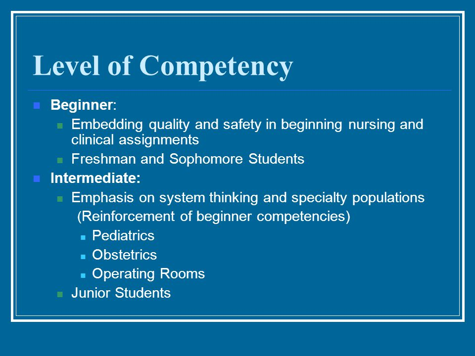 Level of Competency Beginner: