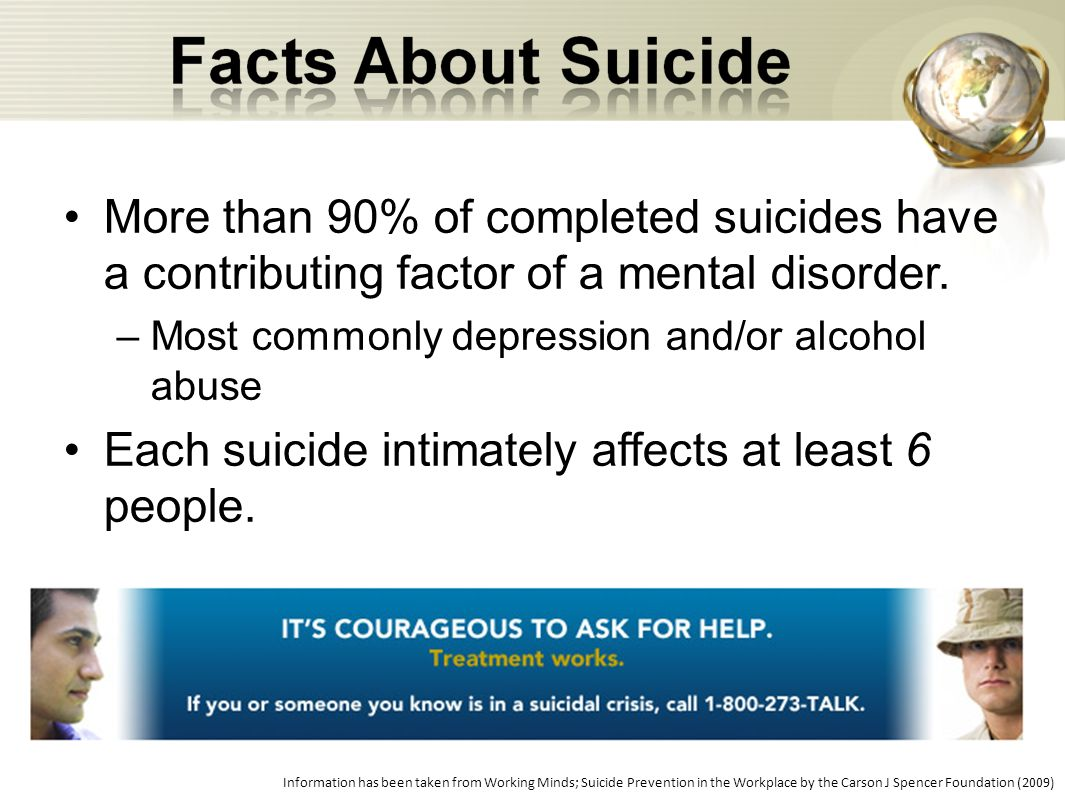 Each suicide intimately affects at least 6 people.