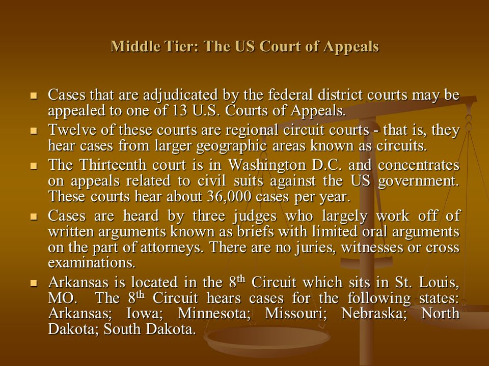 Middle Tier: The US Court of Appeals