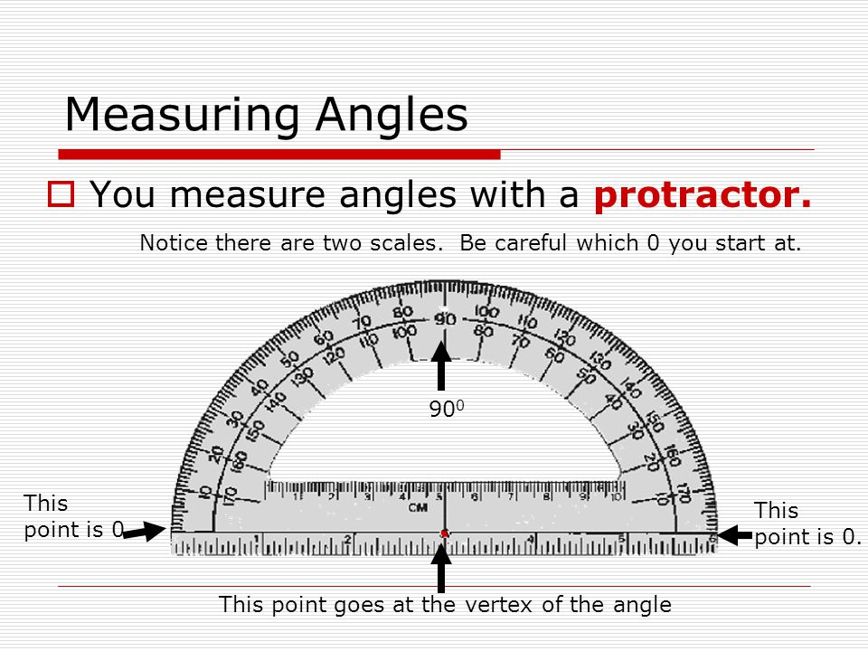 Measuring Angles You measure angles with a protractor.