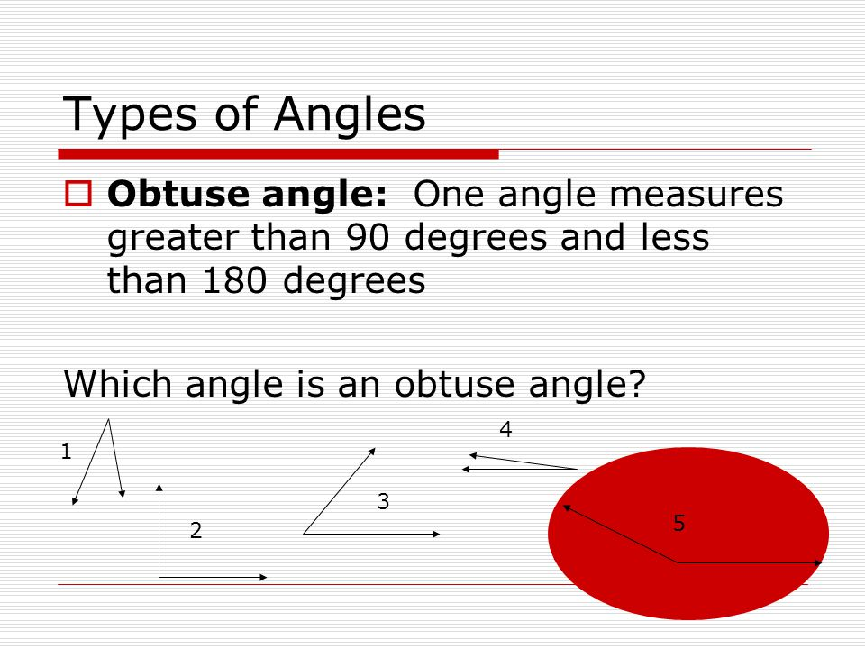 Types of Angles Obtuse angle: One angle measures greater than 90 degrees and less than 180 degrees.
