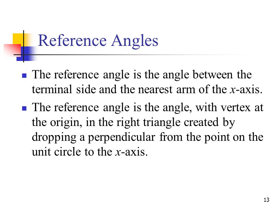 Reference Angles The reference angle is the angle between the terminal side and the nearest arm of the x-axis.