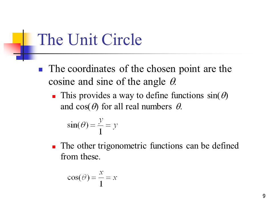 The Unit Circle The coordinates of the chosen point are the cosine and sine of the angle .