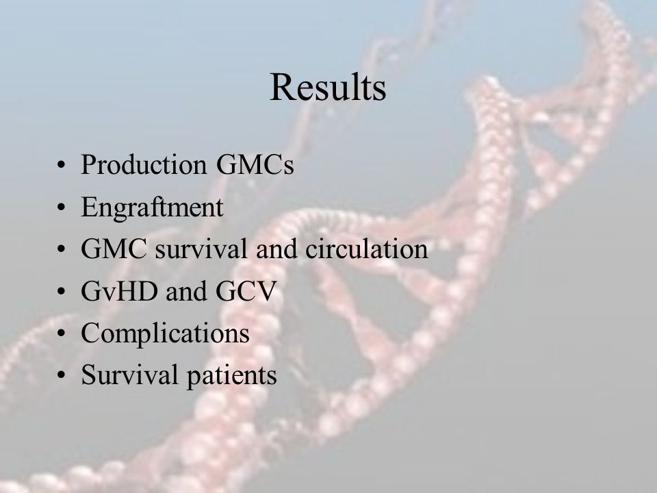 Results Production GMCs Engraftment GMC survival and circulation