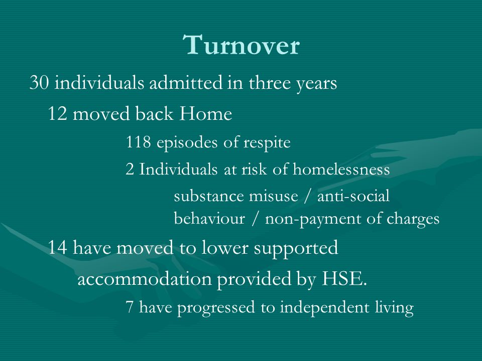 Turnover 30 individuals admitted in three years 12 moved back Home