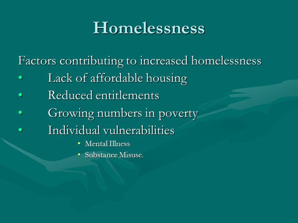 Homelessness Factors contributing to increased homelessness