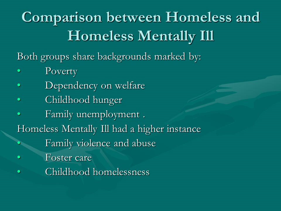 Comparison between Homeless and Homeless Mentally Ill