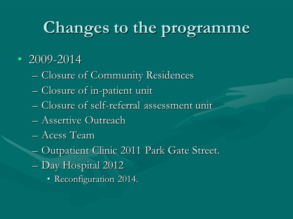 Changes to the programme