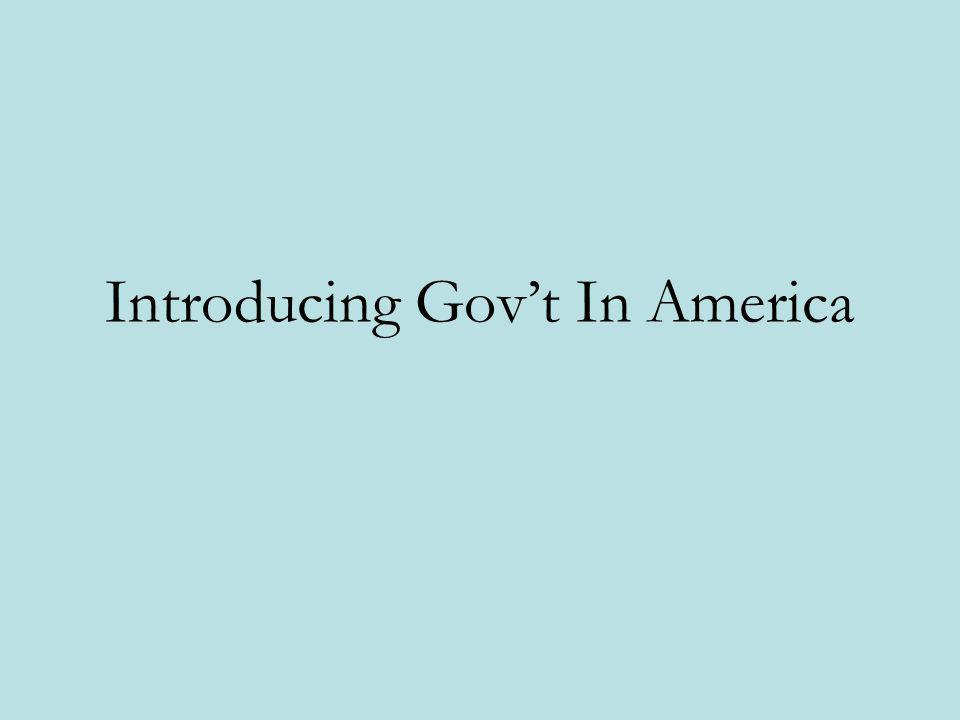 Introducing Gov't In America