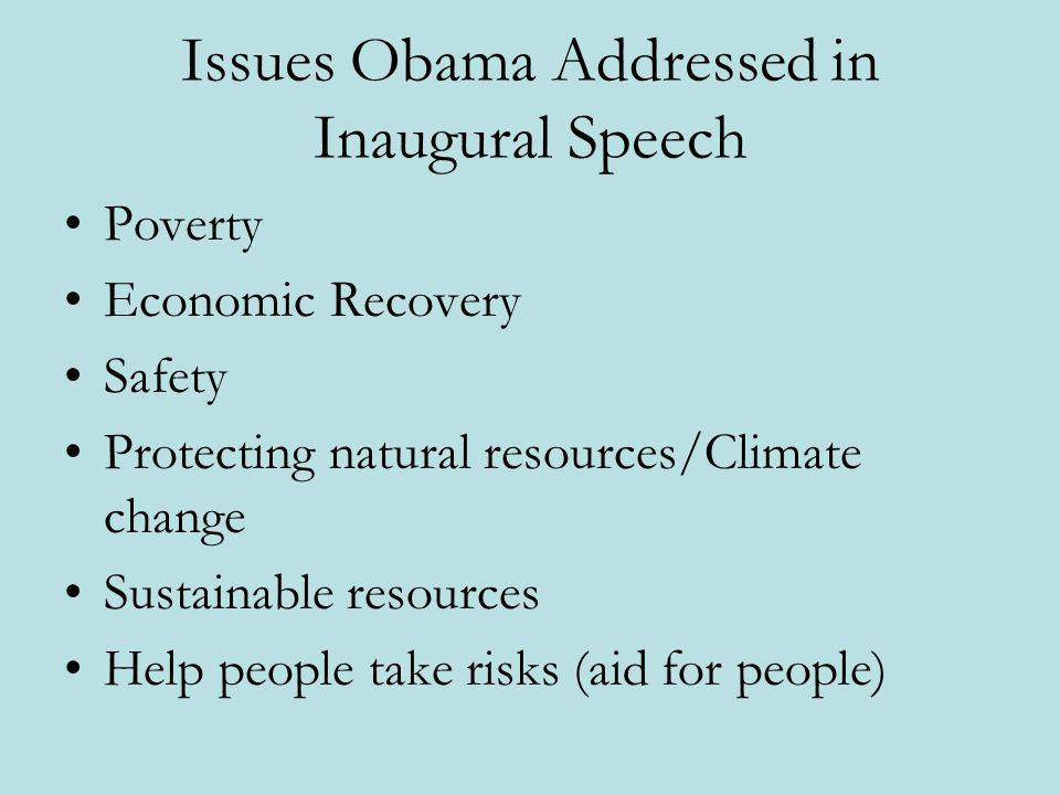 Issues Obama Addressed in Inaugural Speech