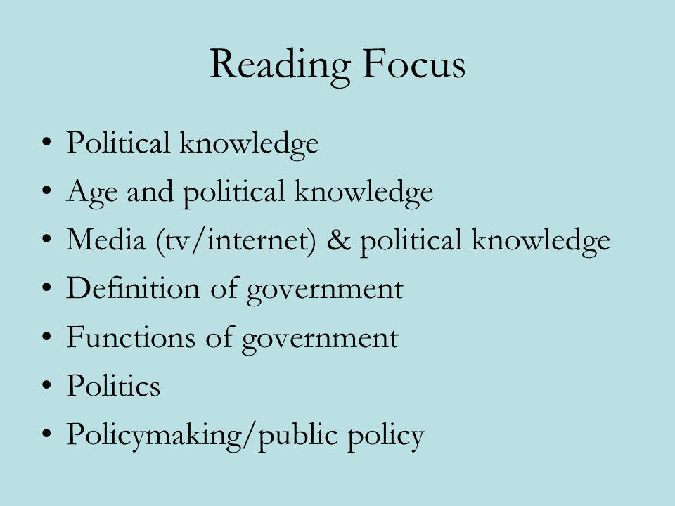 Reading Focus Political knowledge Age and political knowledge