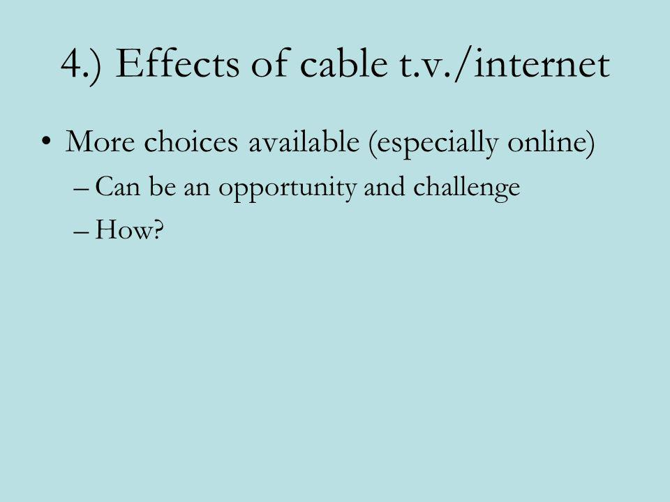 4.) Effects of cable t.v./internet