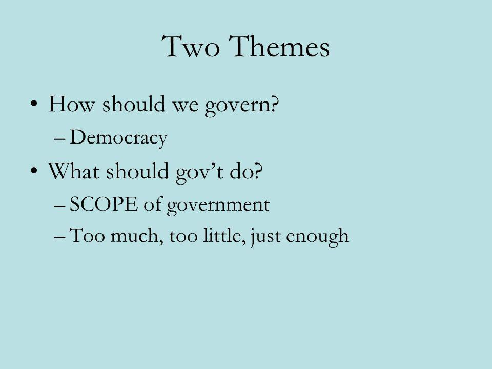 Two Themes How should we govern What should gov't do Democracy