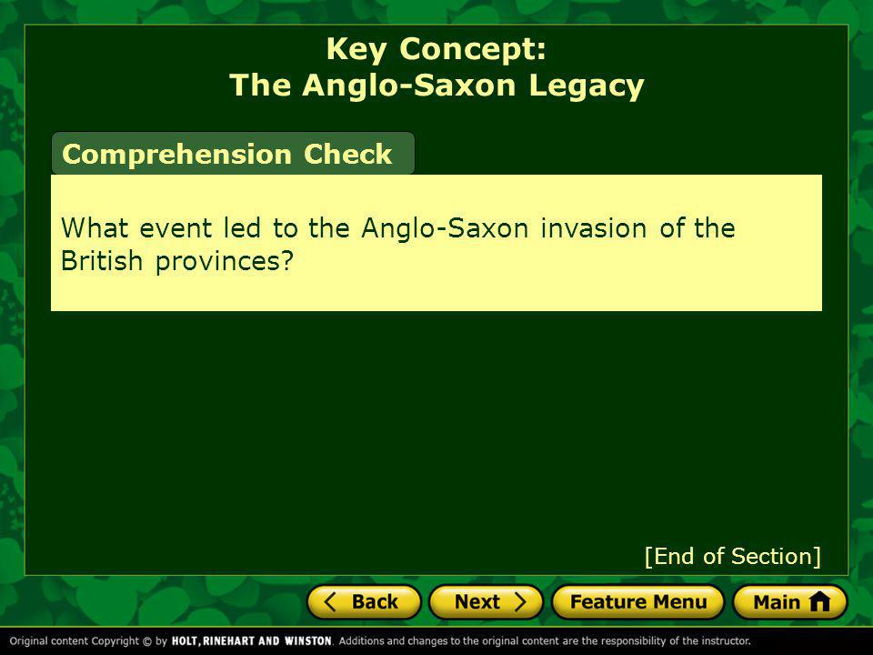 Key Concept: The Anglo-Saxon Legacy
