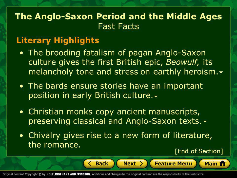 The Anglo-Saxon Period and the Middle Ages Fast Facts