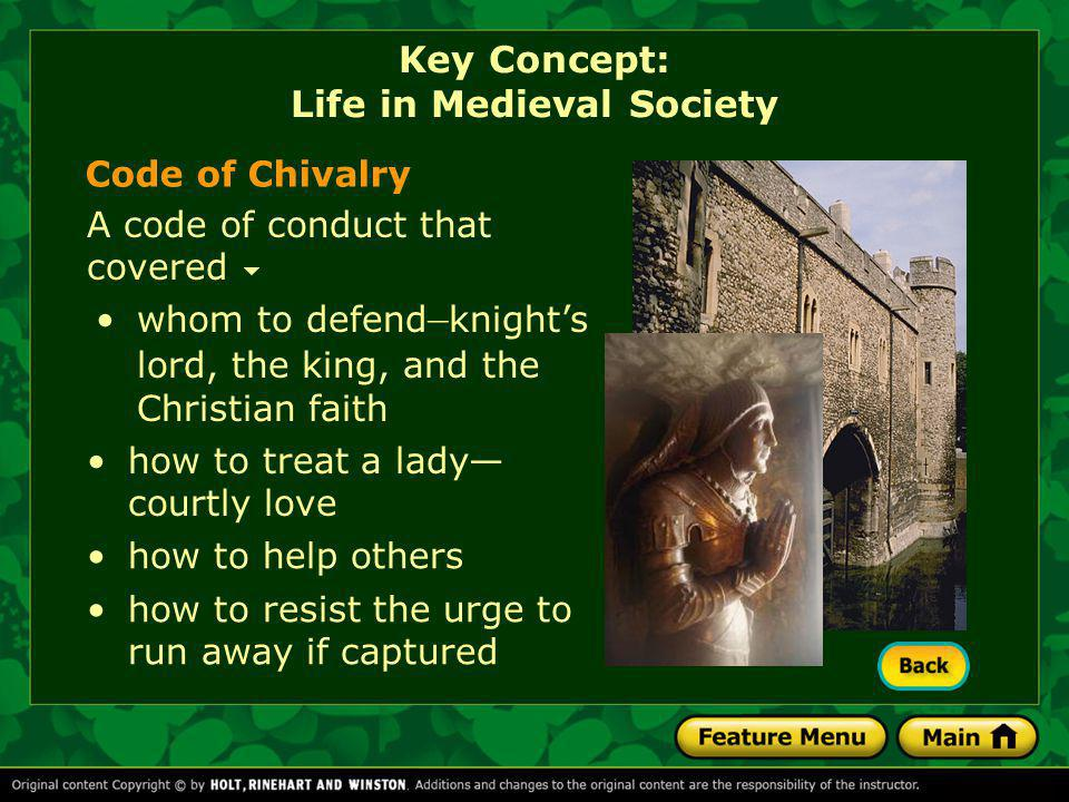 the key virtues of the knights code of chivalry during the medieval period The code of chivalry was an important part of the society and lives of people who lived during the medieval times and was understood by all the ideals described in the code of chivalry were emphasised by the oaths and vows that were sworn in the knighthood ceremonies of the middle ages and the medieval era.