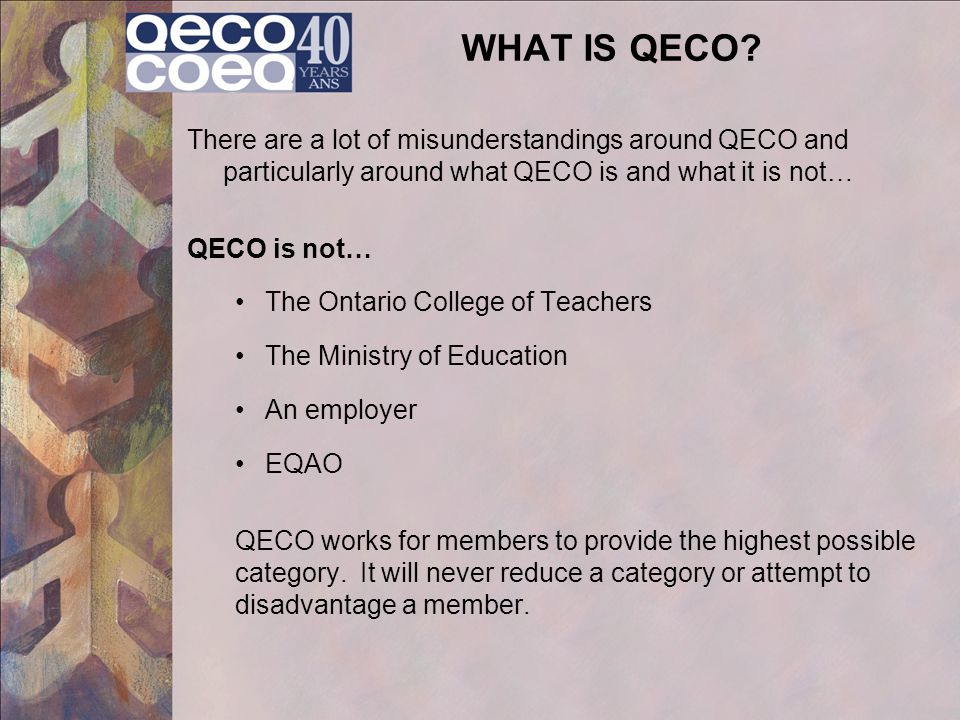 WHAT IS QECO There are a lot of misunderstandings around QECO and particularly around what QECO is and what it is not…