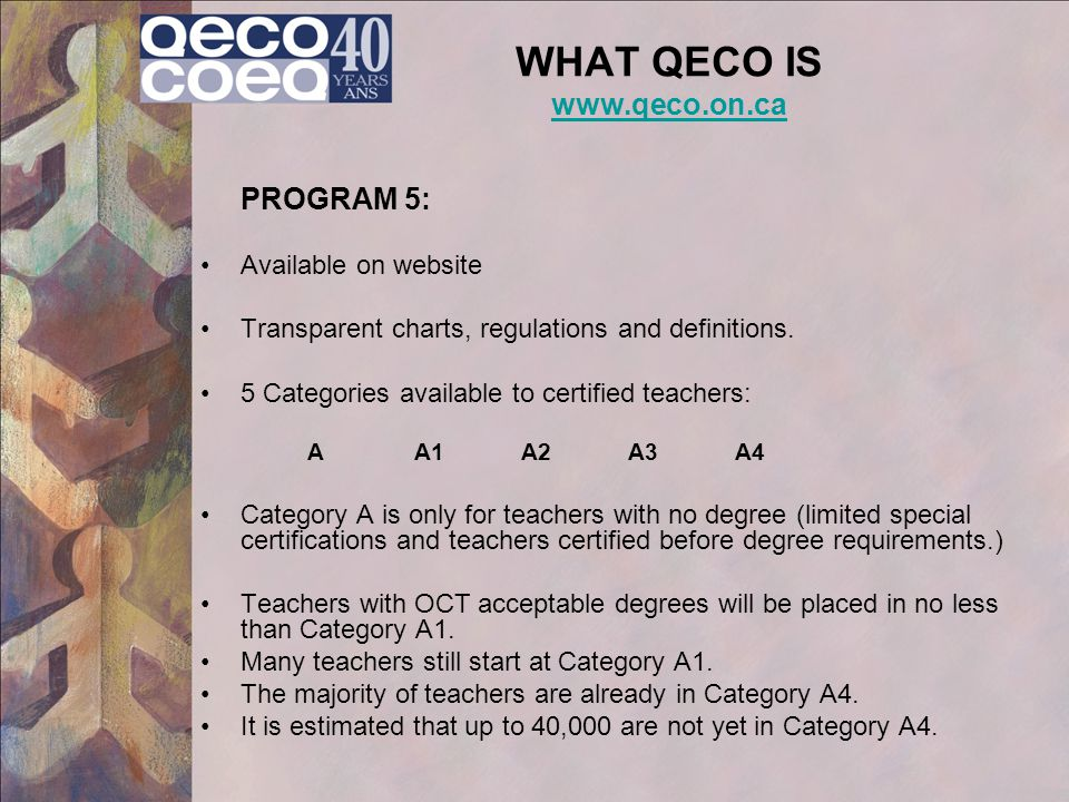 WHAT QECO IS www.qeco.on.ca