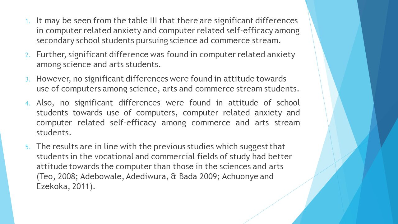 It may be seen from the table III that there are significant differences in computer related anxiety and computer related self-efficacy among secondary school students pursuing science ad commerce stream.