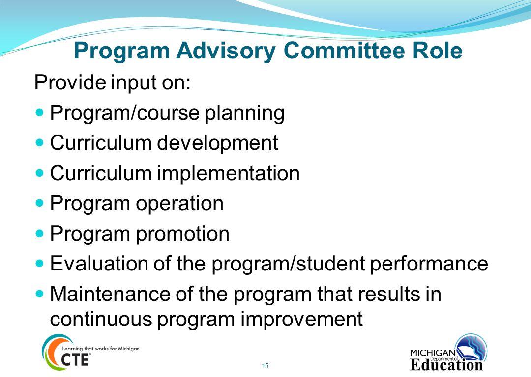 Program Advisory Committee Role
