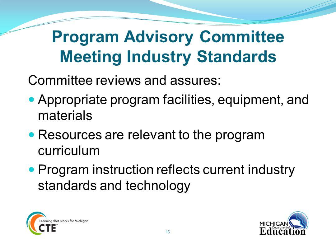 Program Advisory Committee Meeting Industry Standards